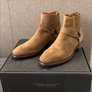 FRYE CHESTNUT SUEDE HARNESS BOOTS